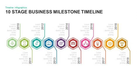 10 stage Business milestones timeline PowerPoint template