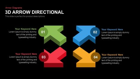 3D Directional Arrow PowerPoint Template and Keynote Slide