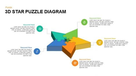 3D Star Puzzle Diagram Powerpoint Template