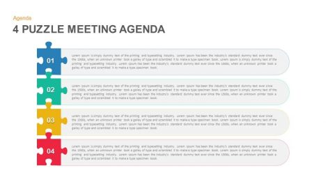 4 Puzzle Meeting Agenda Powerpoint and Keynote template