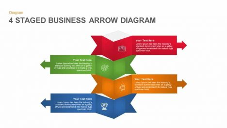 4 Staged Business Arrow Diagram Powerpoint and Keynote template