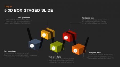 5 3d Box Staged Powerpoint and Keynote Slide