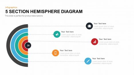 5 Section Hemisphere Diagram Powerpoint And Keynote Template