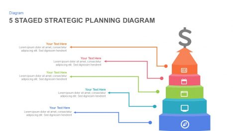 5 staged strategic planning diagram powerpoint template and keynote