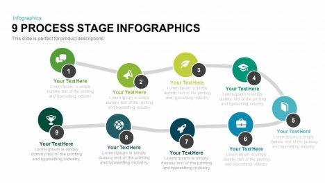 9 Process Stage Infographics PowerPoint Template