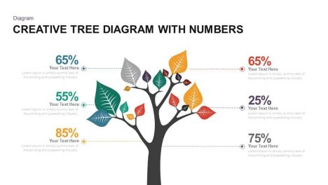 Creative Tree Diagram with Numbers PowerPoint and Keynote template