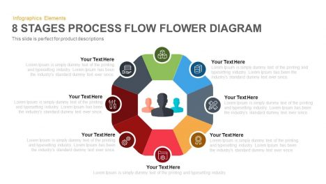 8 Stages Flower Process Flow Diagram PowerPoint Template