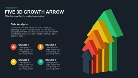 Five 3d Growth Arrows Template for PowerPoint and Keynote