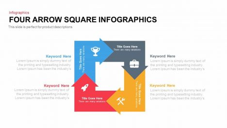 Four Arrow Square Infographics