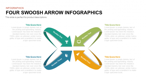 Four Swoosh Arrow Infographics