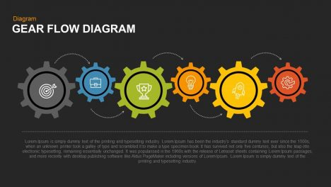gear flow diagram PowerPoint template and keynote