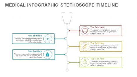 Medical Infographic Stethoscope Timeline PowerPoint Template and Keynote template