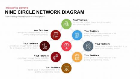 Nine Circle Network Diagram Powerpoint Keynote