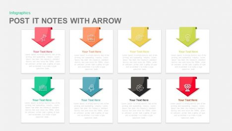 Post It Notes with Arrow Powerpoint and Keynote template