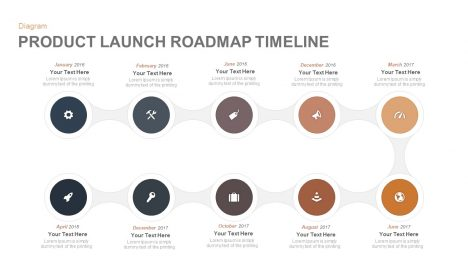 Product Launch Roadmap Timeline PowerPoint Template and Keynote template