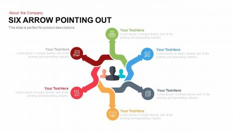 Six Arrows Pointing Out PowerPoint Template and Keynote Slide