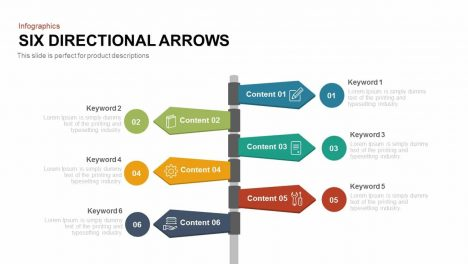 Six Directional Arrows PowerPoint Templates and Keynote