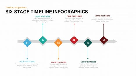 Six Stage Timeline Infographics Powerpoint and Keynote template