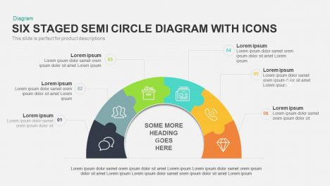 Six Staged Semi Circle Diagram PowerPoint Template with Icons