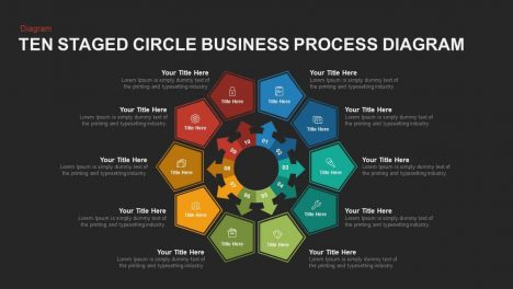 Ten Staged Business Circle Process Diagram PowerPoint Template and Keynote
