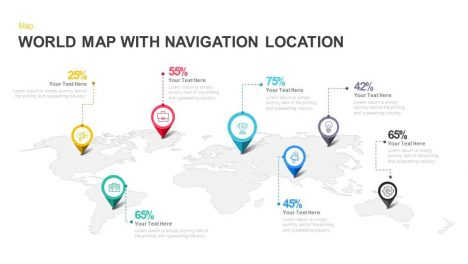 World Map with Navigation Location PowerPoint and Keynote template
