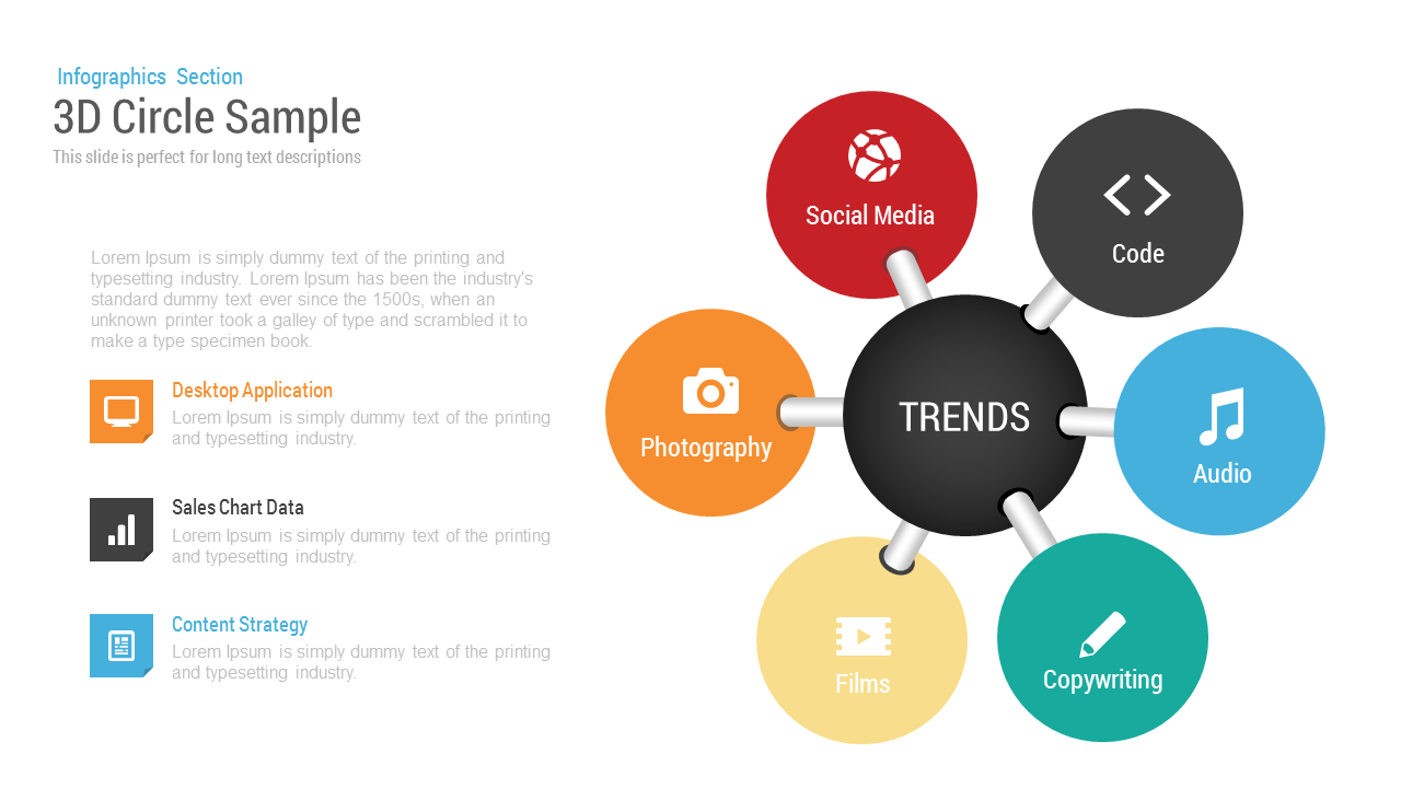 3d circle charts infographics template for powerpoint & keynote