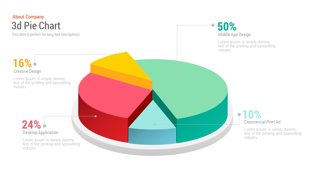 3d pie chart free powerpoint and keynote template