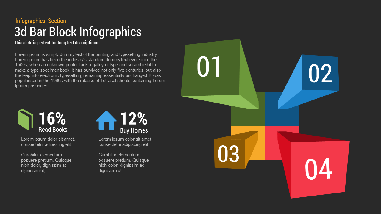 3D Bar Block Infographics PowerPoint and Keynote template