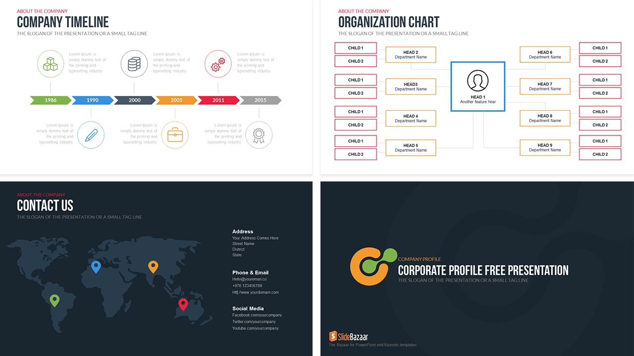 Company profile powerpoint template free slidebazaar company profile powerpoint template free wajeb Image collections