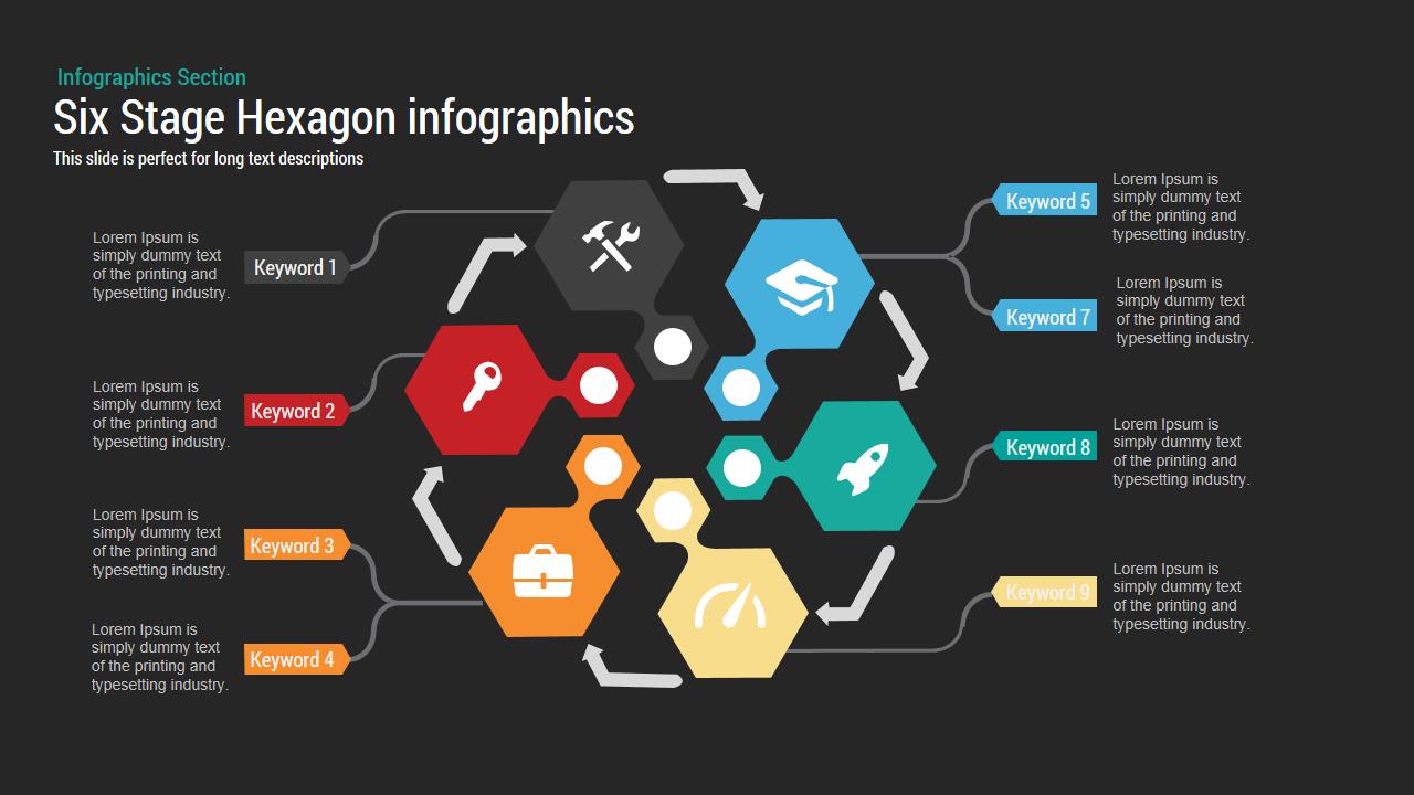 six stage hexagon chart powerpoint keynote template slidebazaar. Black Bedroom Furniture Sets. Home Design Ideas