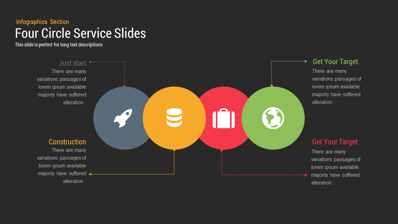 Four Circle Service PowerPoint and keynote slides