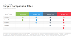 Simple Comparison Table PowerPoint Template & Keynote