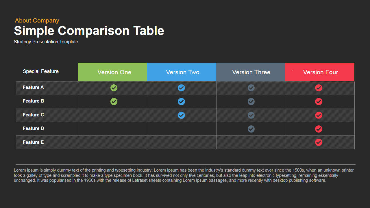 Simple Comparison Table PowerPoint and Keynote template