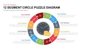 12 Segment Circle Puzzle Diagram Template for PowerPoint and Keynote