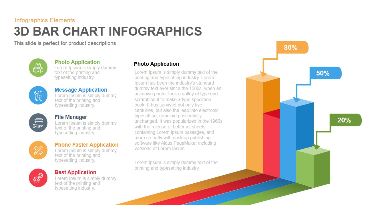 3d bar chart infographics powerpoint keynote template