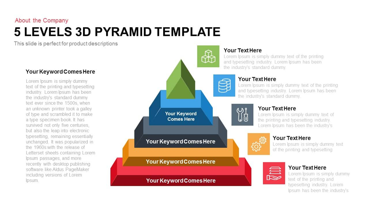 5 Levels 3D Pyramid Template for PowerPoint and Keynote