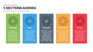 5 Sections Agenda PowerPoint Template and Keynote