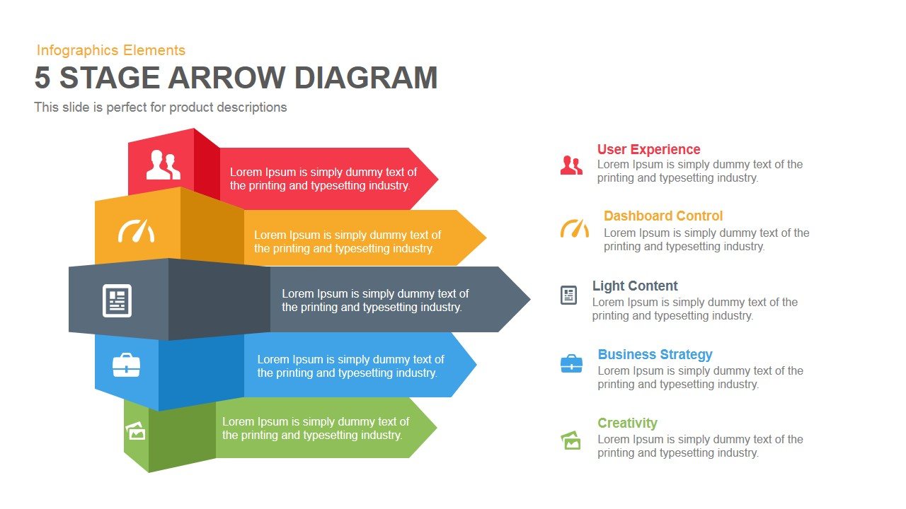 5 Stage Arrow Diagram Powerpoint Keynote template