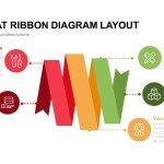 5 Step Flat Ribbon Diagram Layout for PowerPoint and Keynote Template