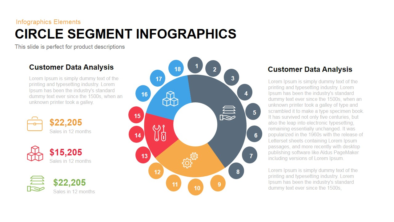 circle segment infographics PowerPoint template and keynote