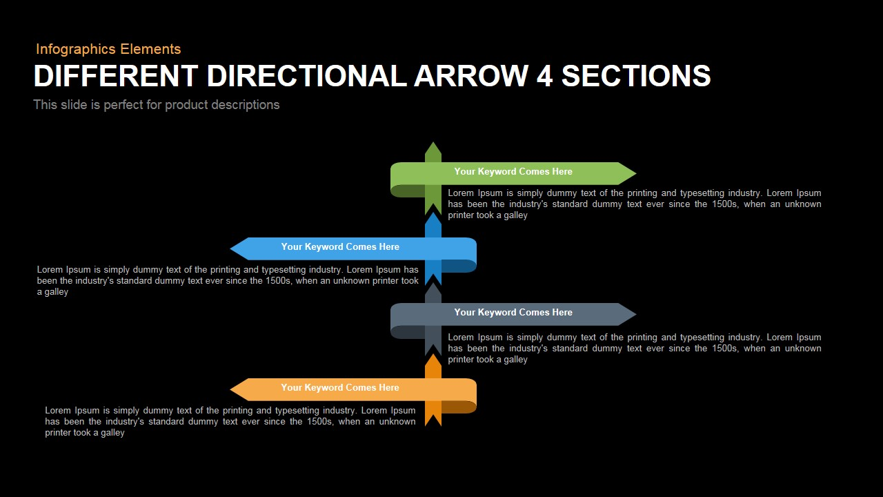 Different Directional Arrow Powerpoint Keynote template