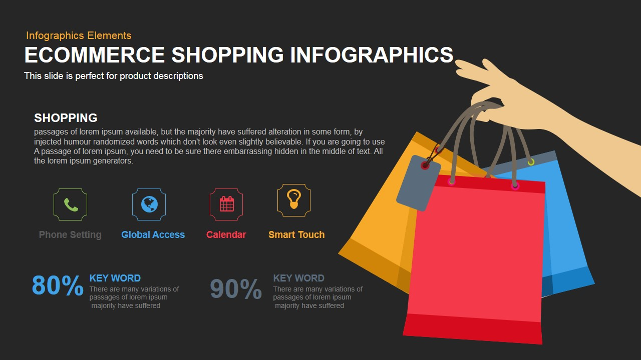 Ecommerce Shopping Infographics Powerpoint and Keynote template