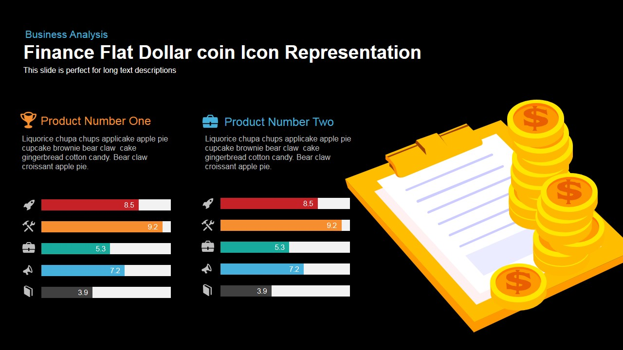 Finance Flat Dollar Coin Icon Representation Powerpoint Keynote template