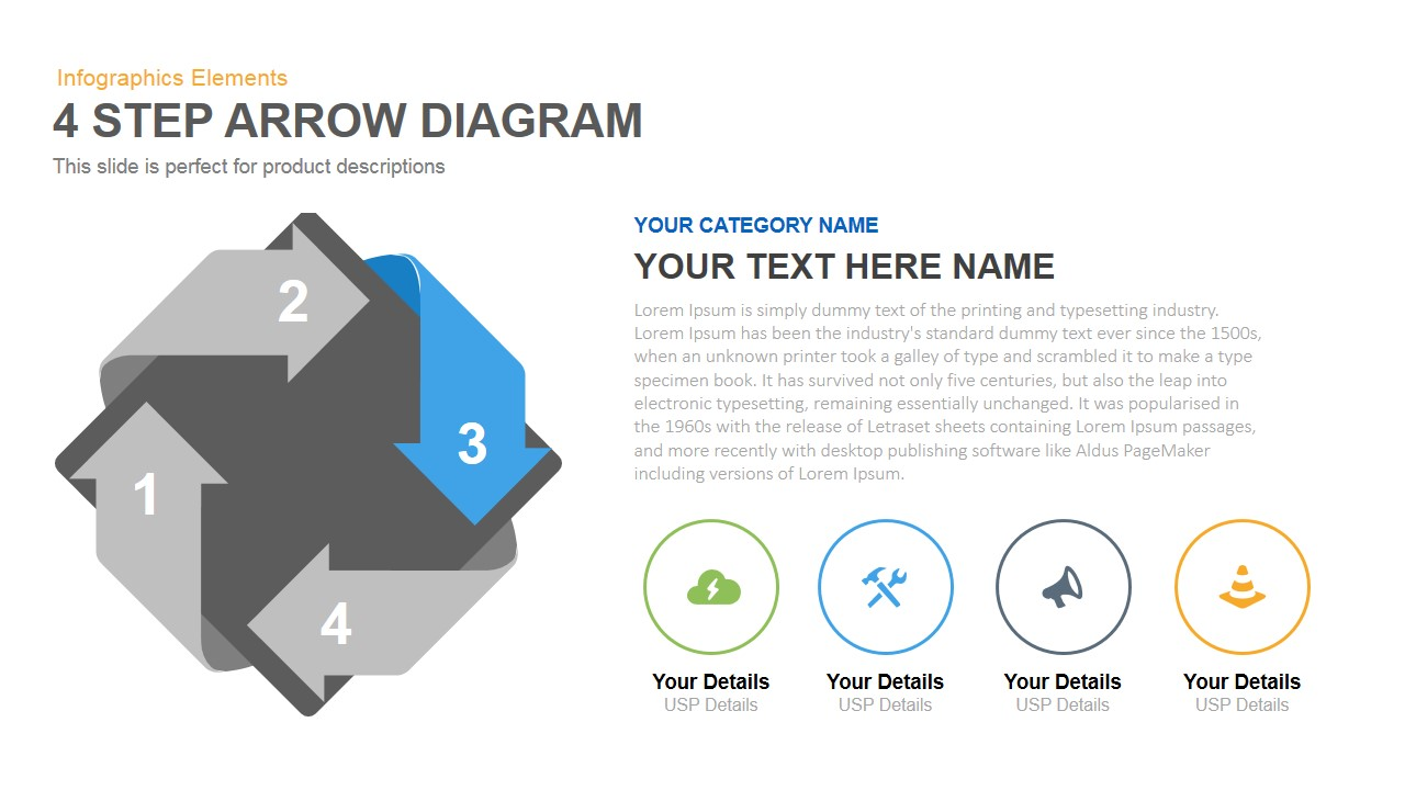Four Step Arrow Diagram Powerpoint Keynote template