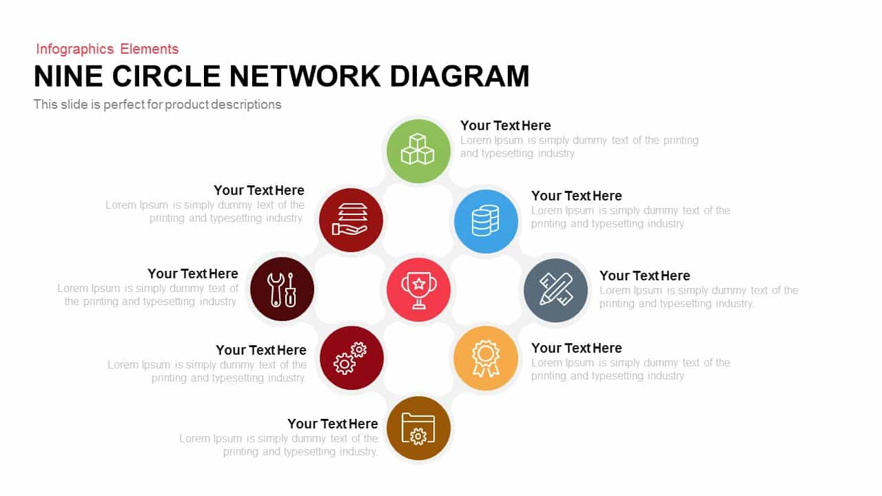 Nine circle network diagram powerpoint template keynote slide nine circle network diagram powerpoint template and keynote slide toneelgroepblik