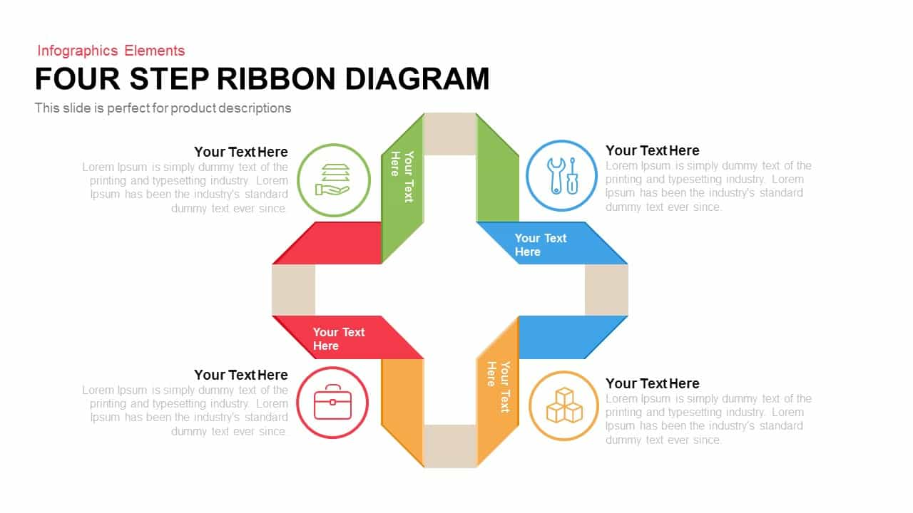 4 Step Ribbon Diagram PowerPoint Template and Keynote Slide