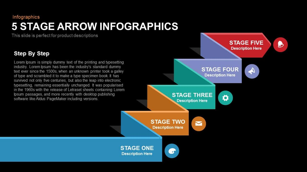 5 Stage Arrow Infographics Powerpoint Keynote template