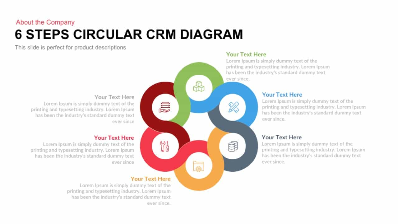 6 Steps Circular CRM Diagram for PowerPoint and Keynote