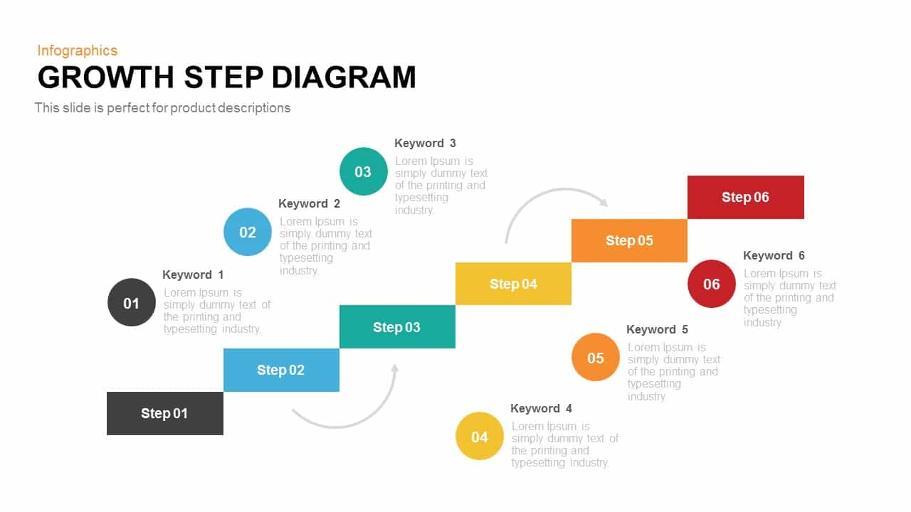 Drawing Lines In Keynote : Growth step diagram powerpoint keynote template slidebazaar