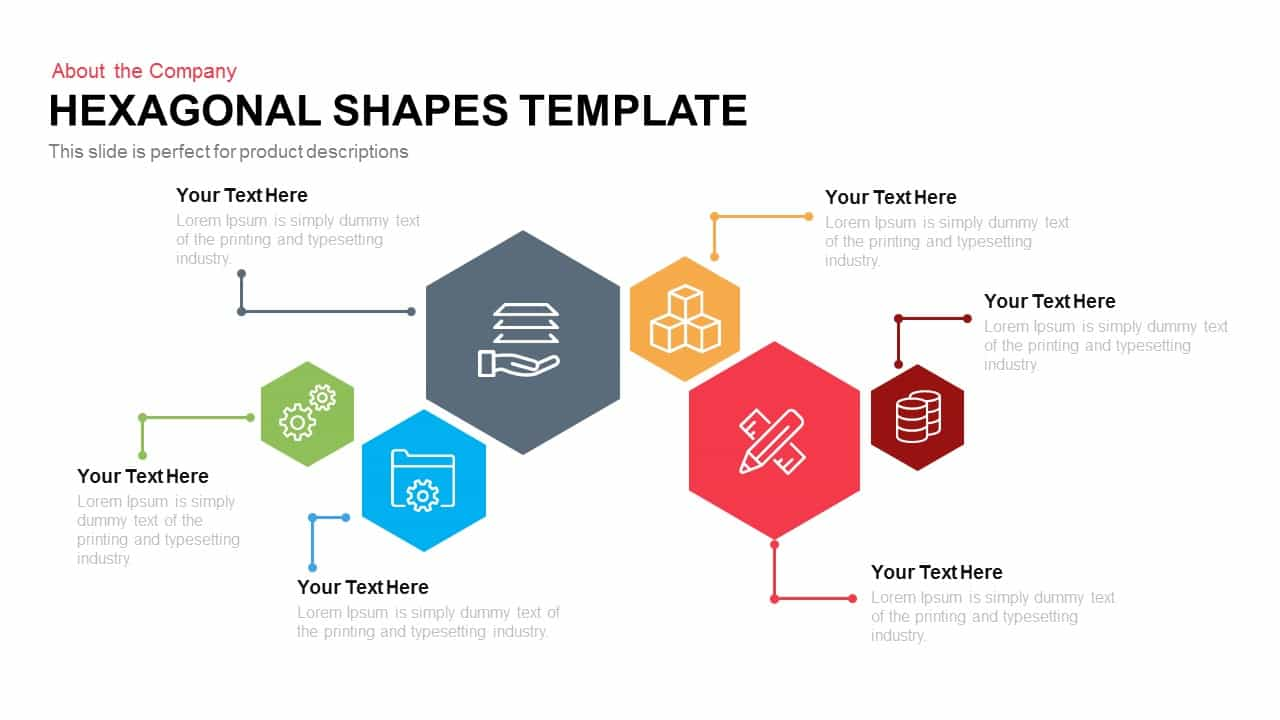 Drawing Lines In Keynote : Hexagon shape template for powerpoint and keynote